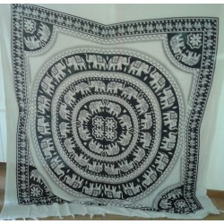 Backdrop Tribal Elephant (200x220cm - Black & White)