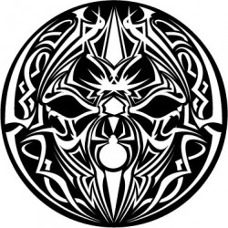 "Feutrine 12"" Logo Spider Tribal (Noir & Blanc)"